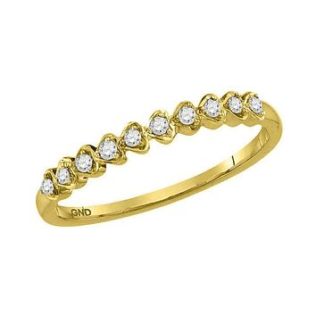 14kt Yellow Gold Womens Round Diamond Stackable Band Ring 1-10 Cttw