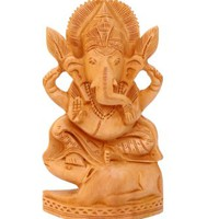 SPECIAL DIWALI DEAL - SouvNear Lord Ganesh Statue on Mouse (Ganesha) Hindu Elephant/God of Success Statue -100% Handmade Wooden Sculpture-Good Luck Charm Figurine-Gift for Home , Women ,Men