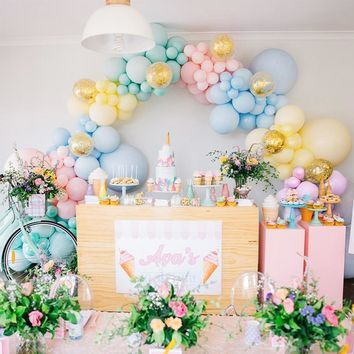 """Pastel Balloons 80 pcs Balloon Pack of 12"""" Latex Balloons in Assorted Pastel Colors and Confetti Balloons Pastel Party Decorations for Girls Birthday, Baby Shower, Wedding"""
