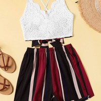Striped Criss Cross Tie Back Cami Top With Shorts