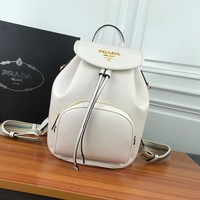 HCXX 19June 745 Prada Fashion Casual Renovate Cylindrical Package Travel Backpack 27-19-32 white