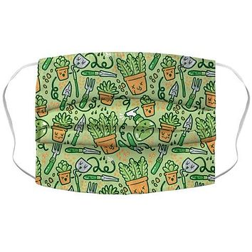 Kawaii Plants and Gardening Tools Face Mask Cover