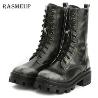Women's BOOTS Genuine Leather Retro Dr Martin Style Women's Motorcycle Shoes