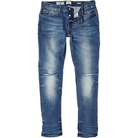 River Island MensMid wash ripped skinny jeans