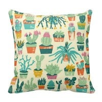 Cactus Pattern Fabric Throw Pillow