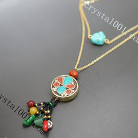 Turquoise necklace antique layered Afghan old style flower necklace