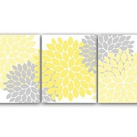 UNFRAMED PRINTS (CHOOSE YOUR SIZES) - Home Decor Wall Art, Yellow and Gray Flower Burst Art, Bathroom Wall Decor, Yellow Bedroom Decor, Nursery Wall Art - HOME37