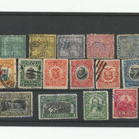 Antique Panama Stamp Collection of 15 used Stamps 1887-1921 Nice Early Issues Map of Panama, 1906, 1909, 100 Years Independent