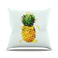 "Oriana Cordero ""Slice of Summer"" White Yellow Throw Pillow"
