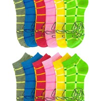 Printed Low Cut Ankle Socks For Woman 12 Pack