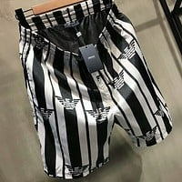 ARMANI New fashion summer print stripe sports leisure loose women and men shorts Black White