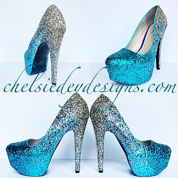 Teal Glitter Wedding High Heels, Turquoise Aqua Gold Ombre Platform Pumps