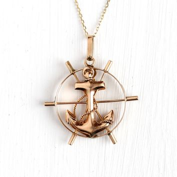 Vintage Nautical Necklace - Retro 1940S 14k Rosy Yellow Gold Fine Pendant Charm - Mid Century WWII Wheel and Anchor Navy Inspired Jewelry