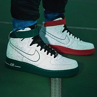 Nike Air Force 1 AF1 Popular Men World Basketball Cup Red Green Mandarin Duck 3M Reflective Sneakers Sports Shoes