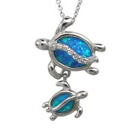 "Mom and Baby Turtle Sterling Silver Synthetic Blue Opal Necklace Pendant with 18"" Box Chain"