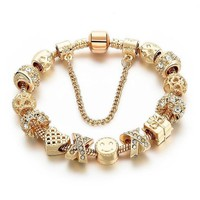 Pandora Inspired Smiley Face ☺ Charm & Swarovski Crystal Gold-Plated Bracelet