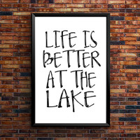 Lake House Wall Art Quotes,Wall Art Prints, Dictionary Page, Antique Poster, housewarming gift Wall decor, Life is better at the LAKE Sign