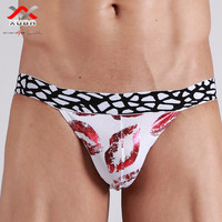 Male panties flaming lips sexy low-waist briefs male t sexy temptation quick-drying men's underwear 3 colors