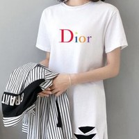 """""""Dior"""" Woman Casual  Wild Fashion Letter Printing Loose  Large Size Hole Short  Sleeve  T-Shirt Tops"""