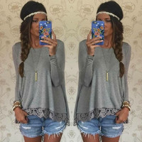 Lace Patchwork Long Sleeves Casual Loose Scoop T-shirt