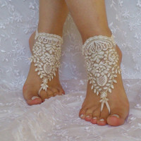Gold ivory beach wedding barefoot sandals bridal shoe modern chic