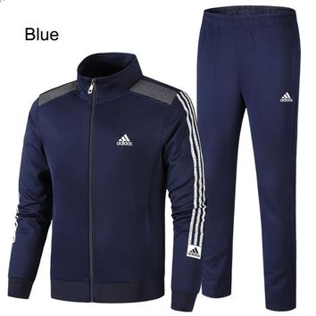 ADIDAS 2018 new men's casual loose running sportswear two-piece blue