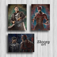 punisher and daredevil poster set of 3 marvel gifts superhero decor marvel art