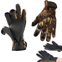 Winter Cycling Fishing Gloves Warm Diving Exposed 3 Fingers Outdoor Cut Ice Anti-Slip Surfcasting Glove Hunting Sport Fishinggea