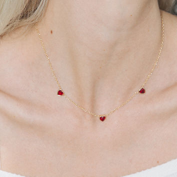 Triple Red Heart Rhinestone Necklace - Jewelry - Accessories