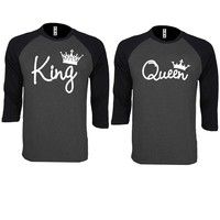 King and Queen Write Couple Charcoal / Black Baseball T-shirt