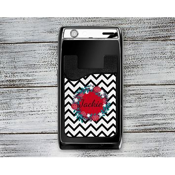 Personalized Cell Phone Caddy | Monogram Phone Wallet | Black Chevron