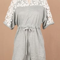 Short Sleeve Floral Lace Embroidered Shirtwaist Mini Dress