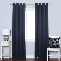 "Navy Silver Grommet Top Solid Thermal Insulated Blackout Curtain 84"""" Length -1 Pair"