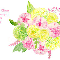 Wedding Clipart - Watercolor wedding bouquet of pink peony, yellow and green roses and green hydrangea printable instant download (set3)