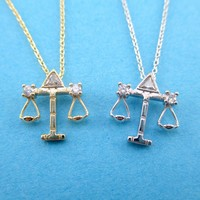 Libra Zodiac Balance Scales Constellation Pendant Necklace