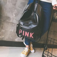 One-nice™ Pink Women Casual School Bag Cowhide Leather Backpack I