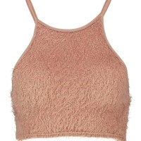 Fluffy Knit Racer Neck Crop Top | Boohoo