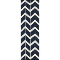 Area Rug - 2.5' X 8' - Colors Include Federal Blue And Winter White