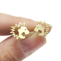 Lion Face Shaped Animal Cut Out Stud Earrings in Gold | Animal Jewelry