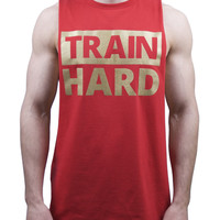 Train Hard Cut Off T Shirt - Red