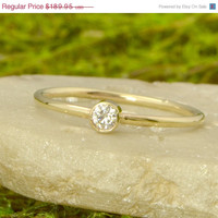 SALE Moissanite Yellow Gold Ring - 10k Gold Jewelry - Round Moissanite Ring - Promise Ring - Stacking Ring -