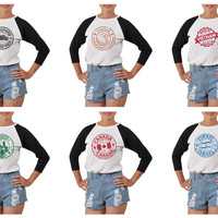 Women's Stamps of countries Printed Elbow Sleeves T- Shirt WTS_03