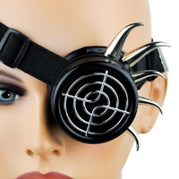 Black Horn Spike Mono Goggle Eye Patch Cosplay Glasses