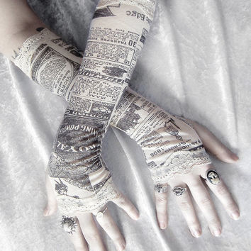 Victorian Newspaper Print Arm Warmers - Gossip Society - Ivory Cream Black & Lace - Gothic Steampunk Noir Yoga Romantic Lolita Goth Bohemian