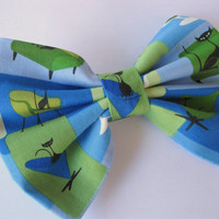 Girls fabric bow, black cat cotton fabric, blue hair clips, womens bows, cat lover, green hairclips, classic tuxedo bows
