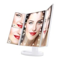 1X/2X/3X Magnifying Makeup Mirror Tri-sided Portable LED Lighted Cosmetic Mirror