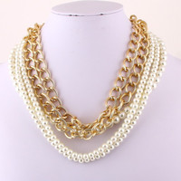 Multi String Pearl Gold Necklace