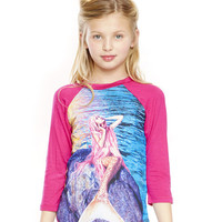 Girls Mermaid 3/4 Sleeve Baseball T-Shirt