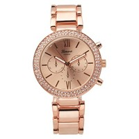 Women's Geneva Platinum Rhinestone Accented Link Watch - Assorted Colors