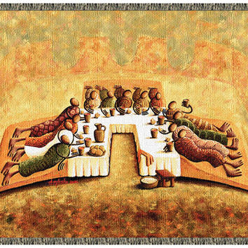 The Lord's Last Supper - Tapestry Throw (with Fringe)
